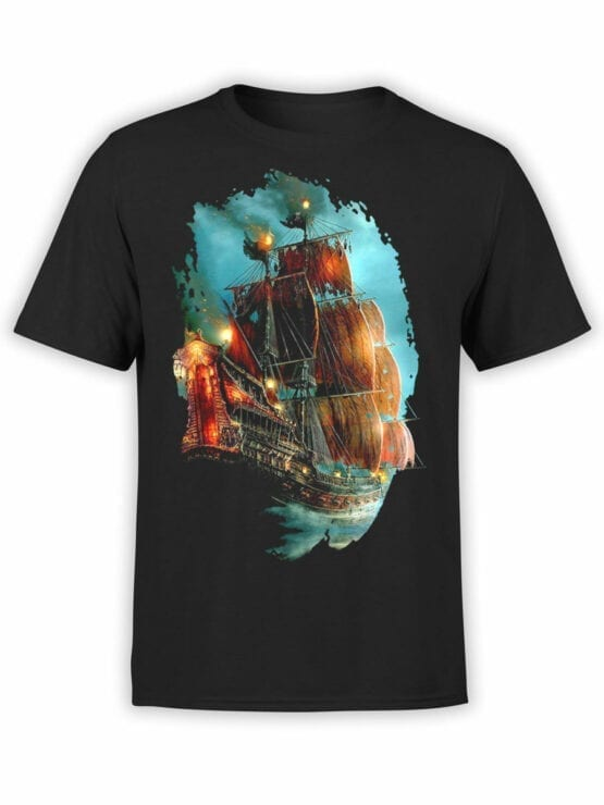 0069 Pirates of the Caribbean T Shirt Pirate Ship Front