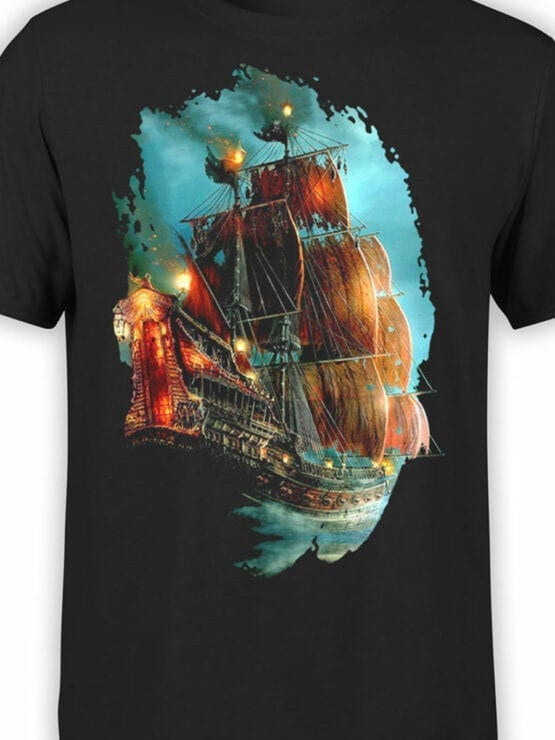 0069 Pirates of the Caribbean T Shirt Pirate Ship Front Color