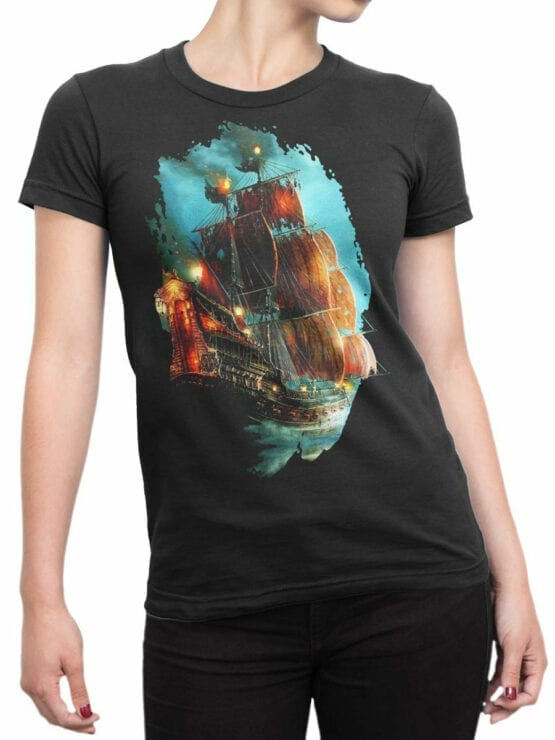 0069 Pirates of the Caribbean T Shirt Pirate Ship Front Woman