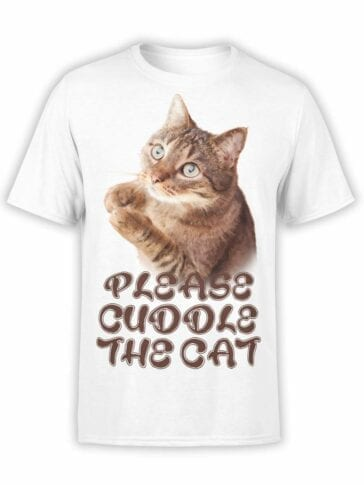 "Cat T-Shirts ""Cuddle the Cat"".Mens Shirts."