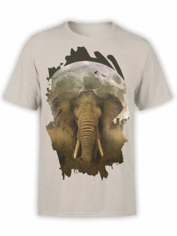 "Elephant T-Shirts ""Elephant and Moon"". Mens Shirts."