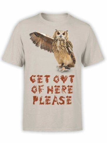 "Owl T-Shirt ""Get Out"". Mens Shirts."
