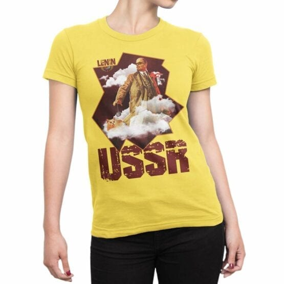 "Funny T-Shirts ""Lenin and Cat"". Shirts."