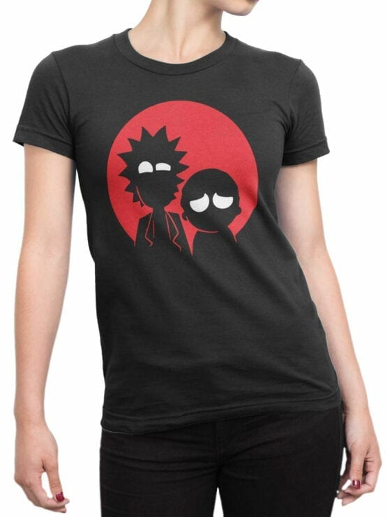 0137 Rick and Morty T Shirt Red Front Woman