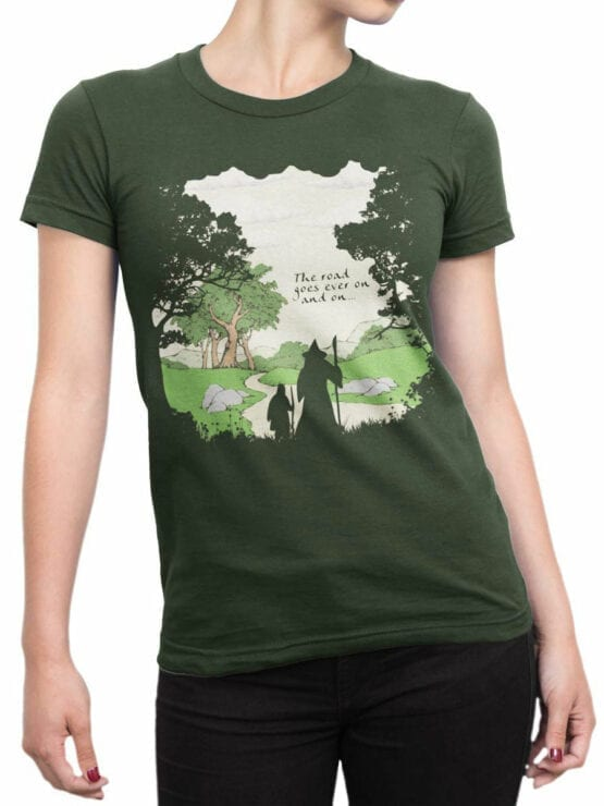 0392 Lord of the Rings T Shirt The Road Front Woman