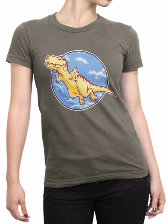 0564 Dinosaur T-Shirt I Can Fly_Front_Woman