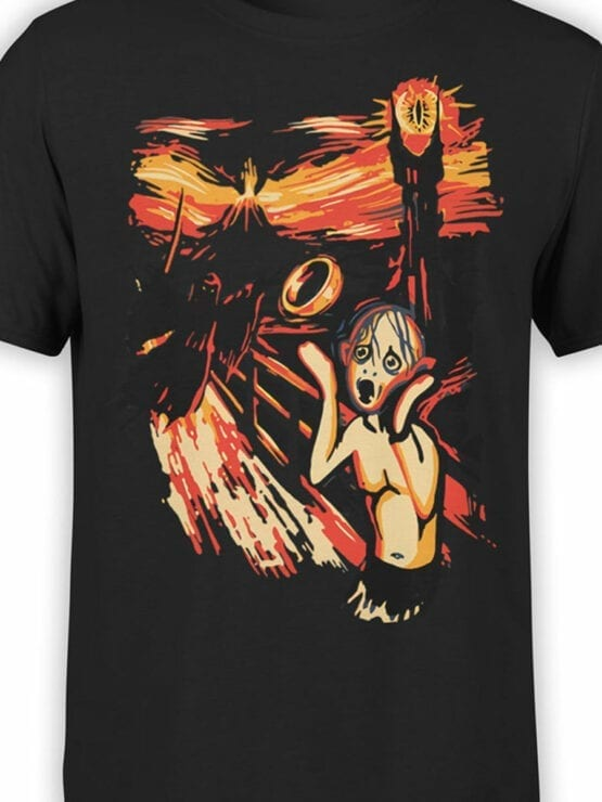 0664 Lord of the Rings Shirt Gollum Scream Front Color