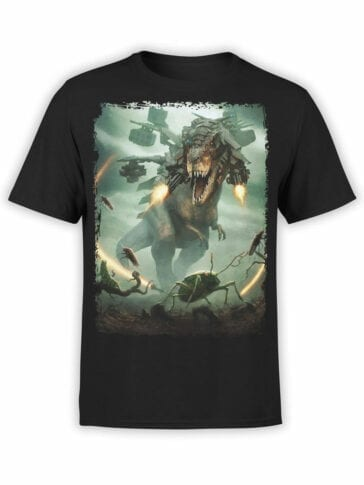 0701 Dinosaur T Shirt T Rex vs Insects Front