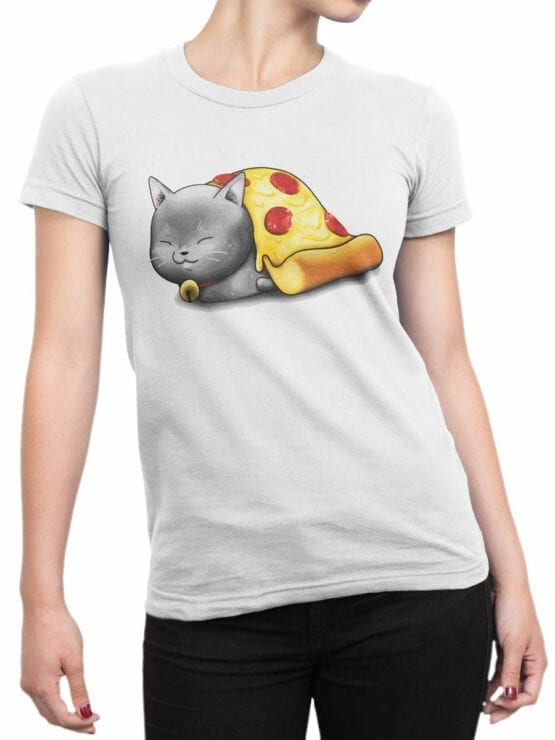 0747 Pizza Shirts Purr purr oni Front Woman