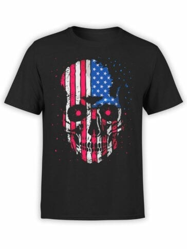 0813 Patriotic Shirts USA Skull Front