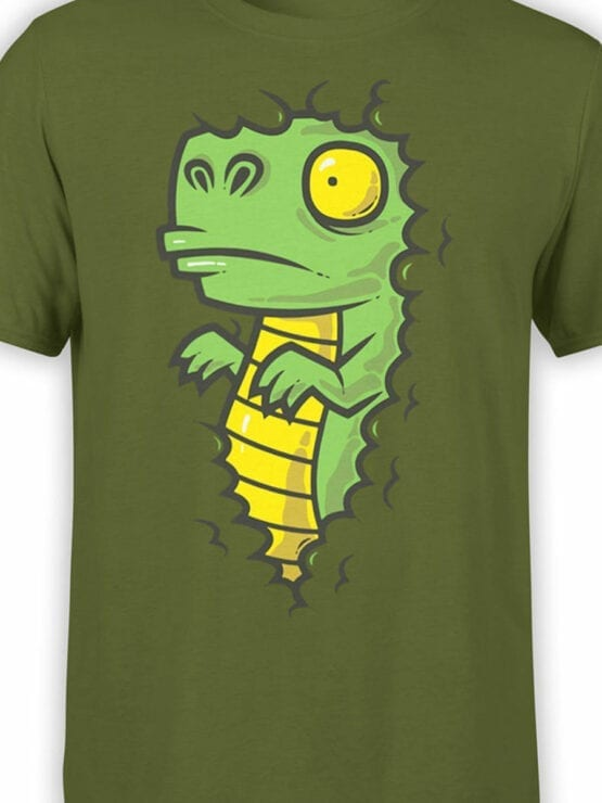 0837 Dinosaur Shirt Dino in the Bush Front Color