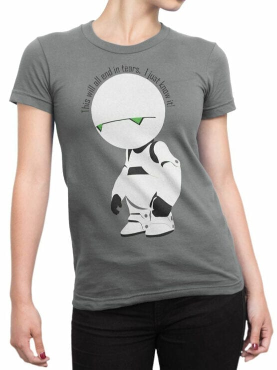 0913 The Hitchhikers Guide to the Galaxy Shirt Marvin I know it Front Woman