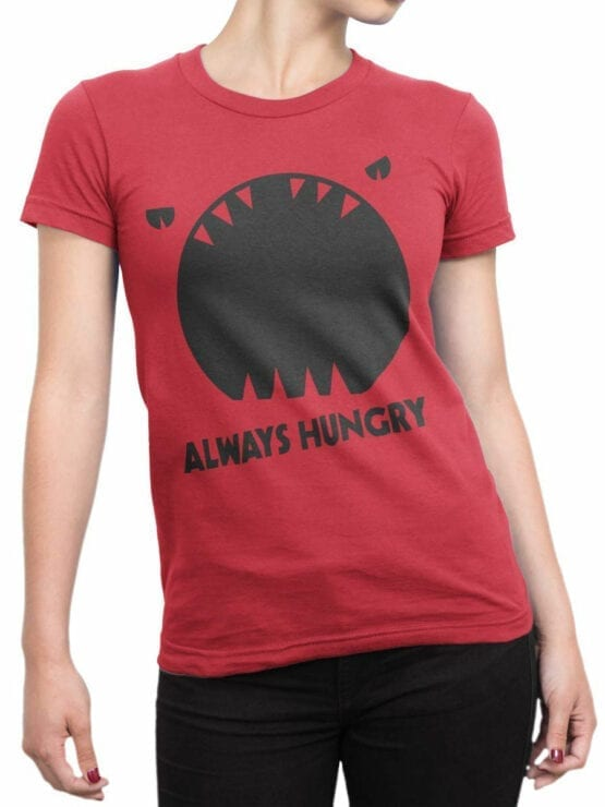 0949 Funny T Shirt Always Hungry Front Woman
