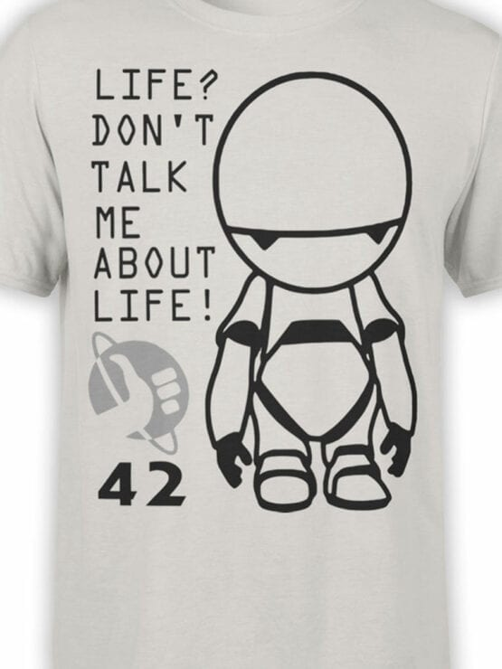 0958 The Hitchhikers Guide to the Galaxy Shirt Marvin 42 Front Color