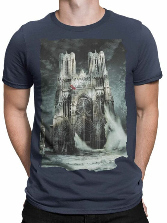 0964 Notre Dame T Shirt Flood Front Man