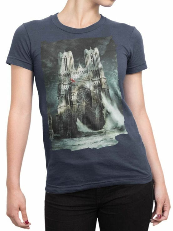 0964 Notre Dame T Shirt Flood Front Woman