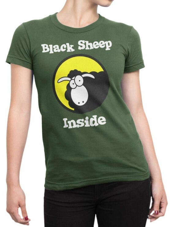 0979 Funny T Shirt Black Sheep Front Woman