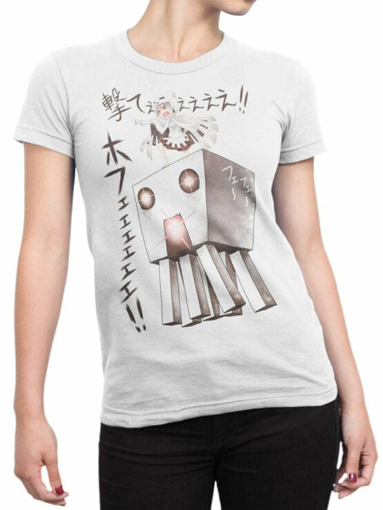 1048 Minecraft T Shirt Attack Front Woman