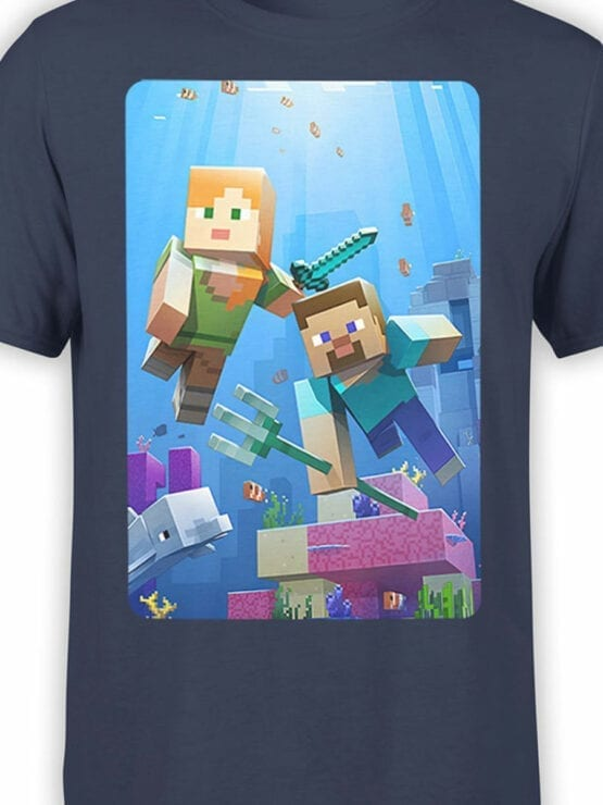 1098 Minecraft T Shirt UnderWater Front Color