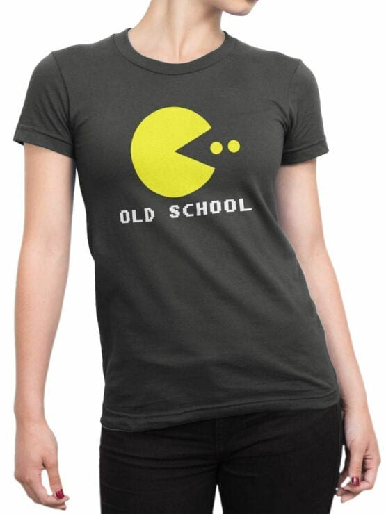 1120 Pac Man T Shirt Old School Front Woman