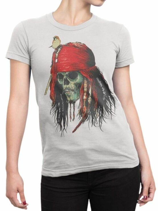 1156 Pirates of the Caribbean T Shirt Skull Front Woman