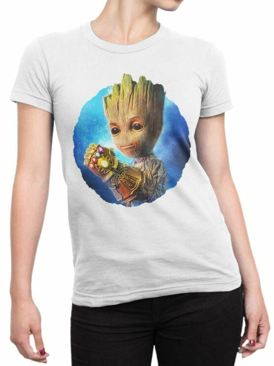 1178 Guardians of the Galaxy T Shirt Thanos Groot Front Woman