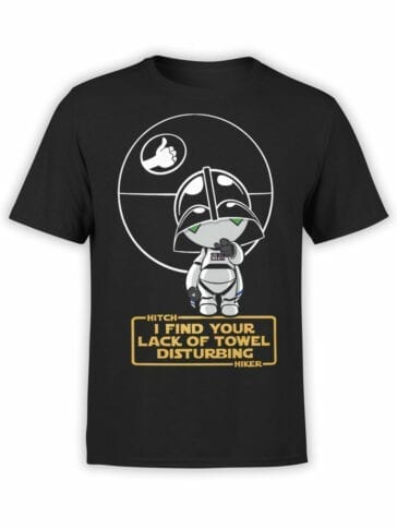 1217 The Hitchhikers Guide to the Galaxy T Shirt Darth Marvin Front