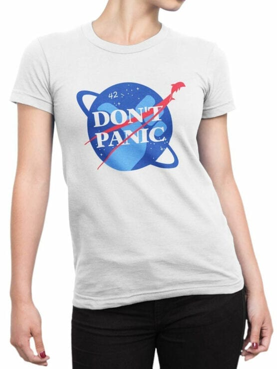 1219 The Hitchhikers Guide to the Galaxy T Shirt NASA Front Woman
