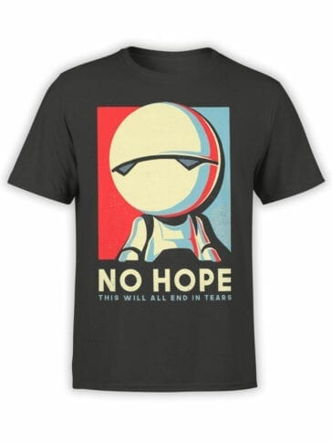 1220 The Hitchhikers Guide to the Galaxy T Shirt No Hope No Hope Front