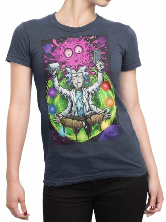 1248 Rick and Morty T Shirt Meditation Front Woman