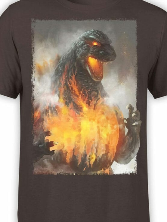 1269 Godzilla T Shirt Fire Front Color