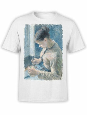 1384 Camille Pissarro T Shirt Breakfast Young Peasant Woman Taking Her Coffee Front