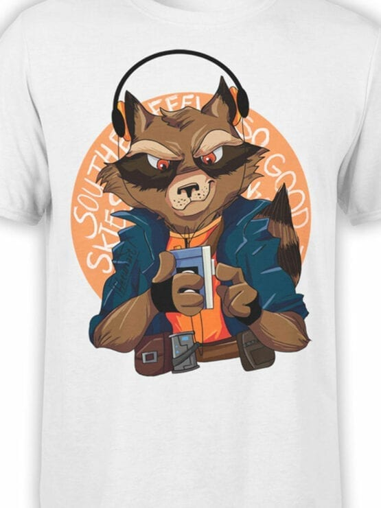 1420 Guardians of the Galaxy T Shirt Rocket Front Color