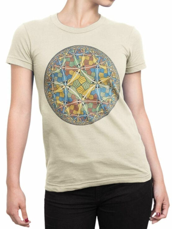 1424 Cornelis Escher T Shirt Circle limit II Front Woman