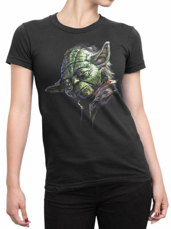 1437 Star Wars T Shirt Master Yoda Front Woman