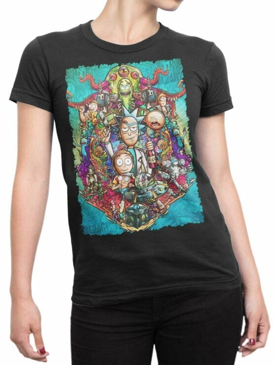 1456 Rick and Morty T Shirt Characters Front Woman