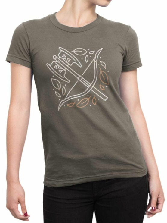 1466 The Lord of the Rings T Shirt Weapon Front Woman