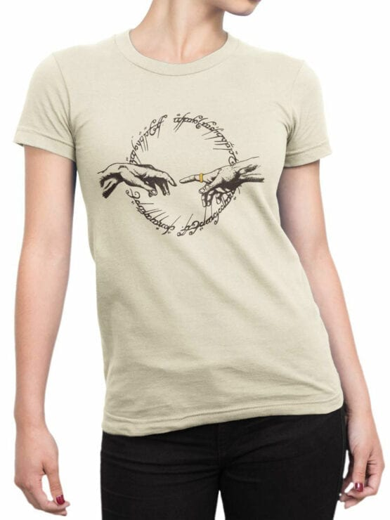 1469 The Lord of the Rings T Shirt Divine Ring Front Woman