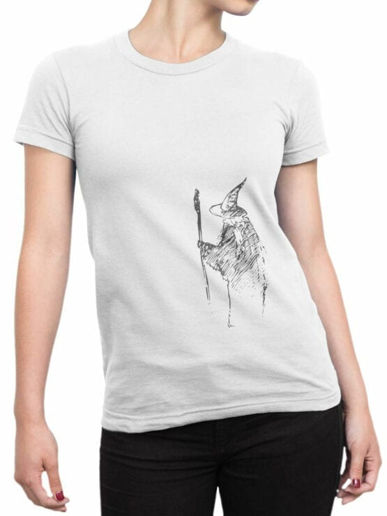 1472 The Lord of the Rings T Shirt Gandalf the Grey Front Woman