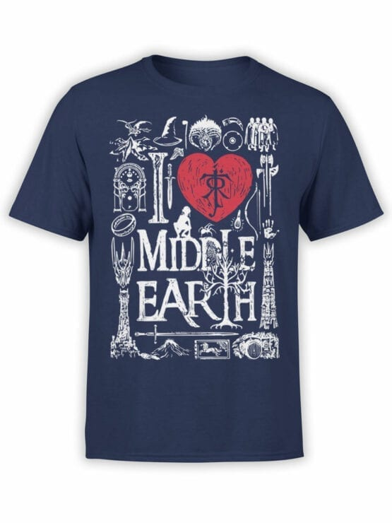 1478 The Lord of the Rings T Shirt Middle Earth Front