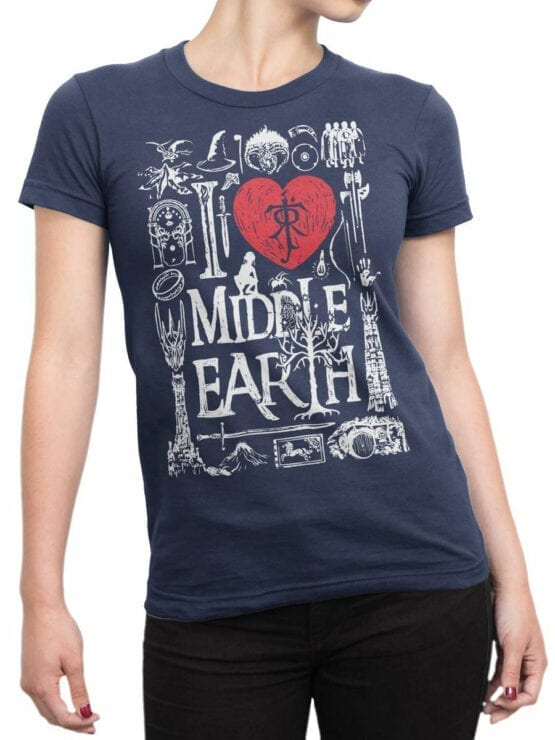 1478 The Lord of the Rings T Shirt Middle Earth Front Woman