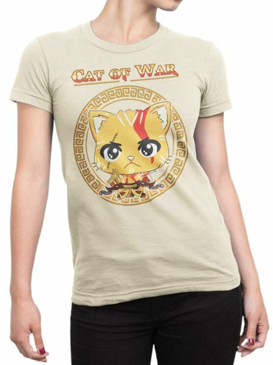 1515 God of War T Shirt Cat of War Front Woman