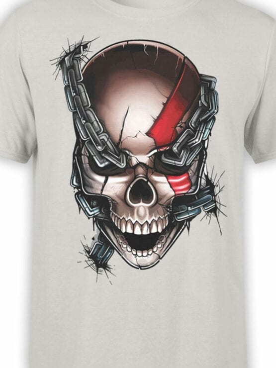 1804 God of War Skull T Shirt Front Color