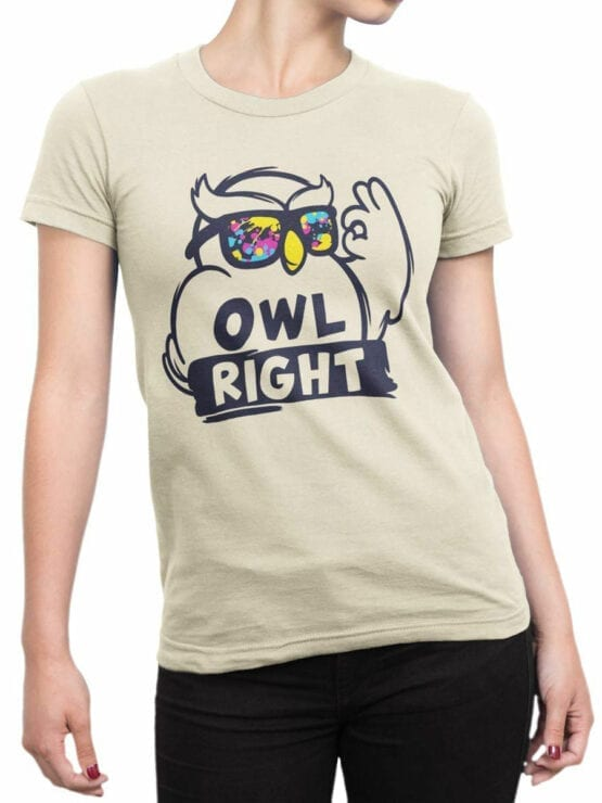 1837 Owl Right T Shirt Front Woman