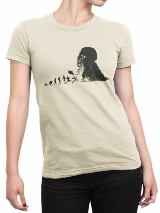 1883 Evolution of Cthulhu T Shirt Front Woman